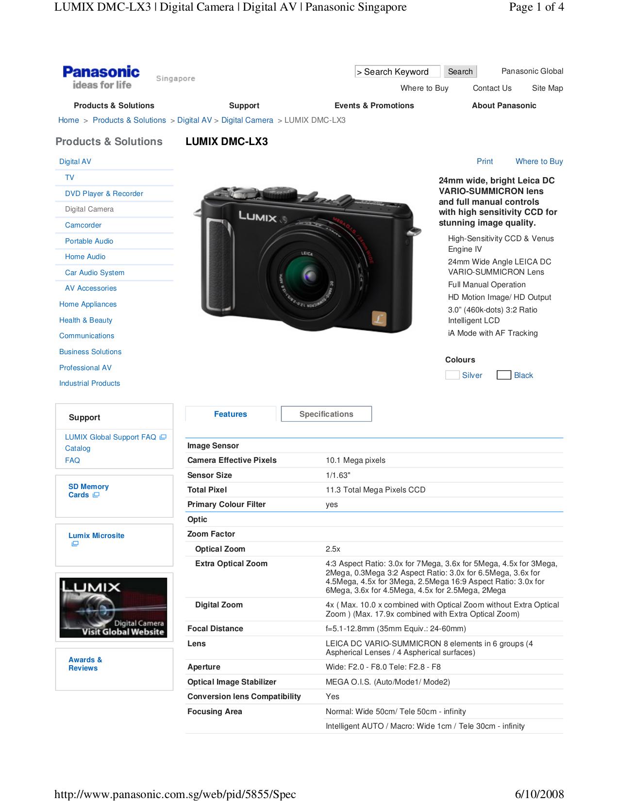 pdf for Panasonic Digital Camera Lumix DMC-LX3 manual