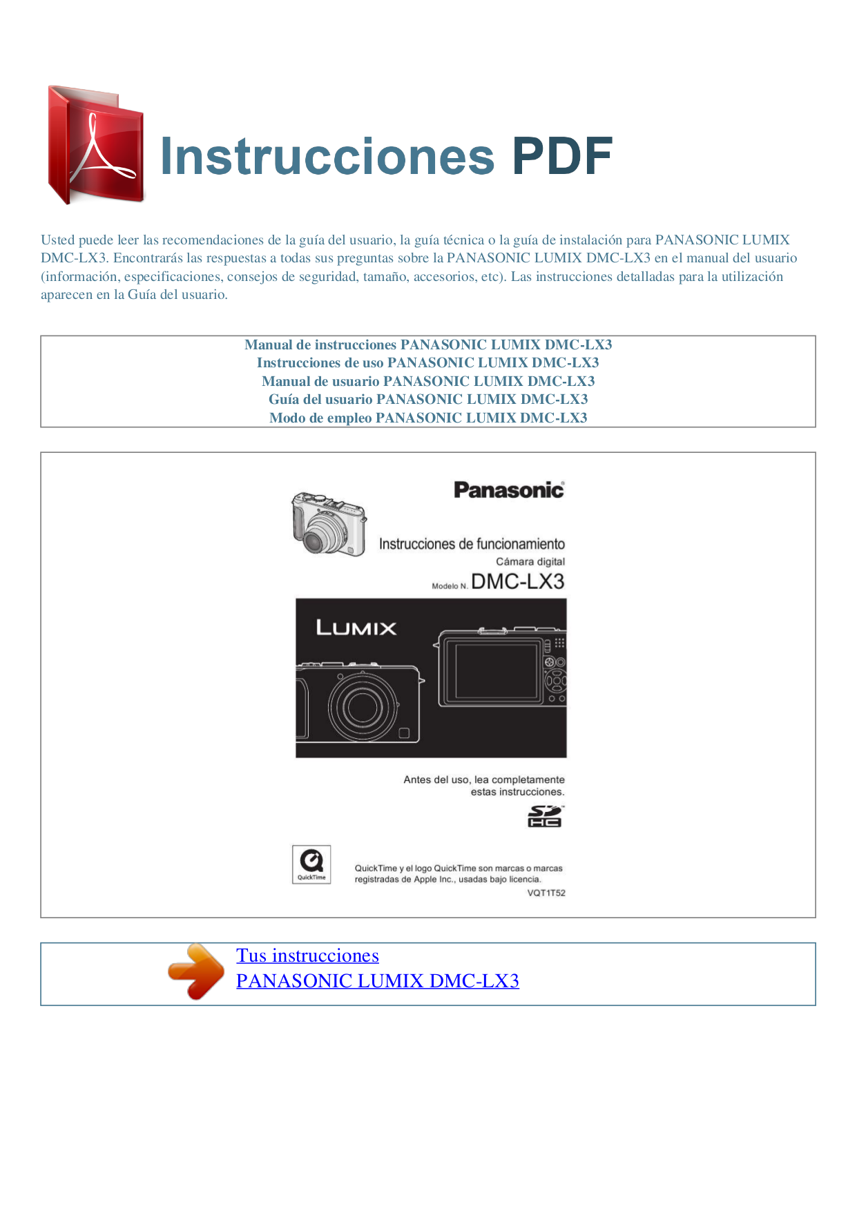Panasonic lumix dmc lx3 instruction manual.