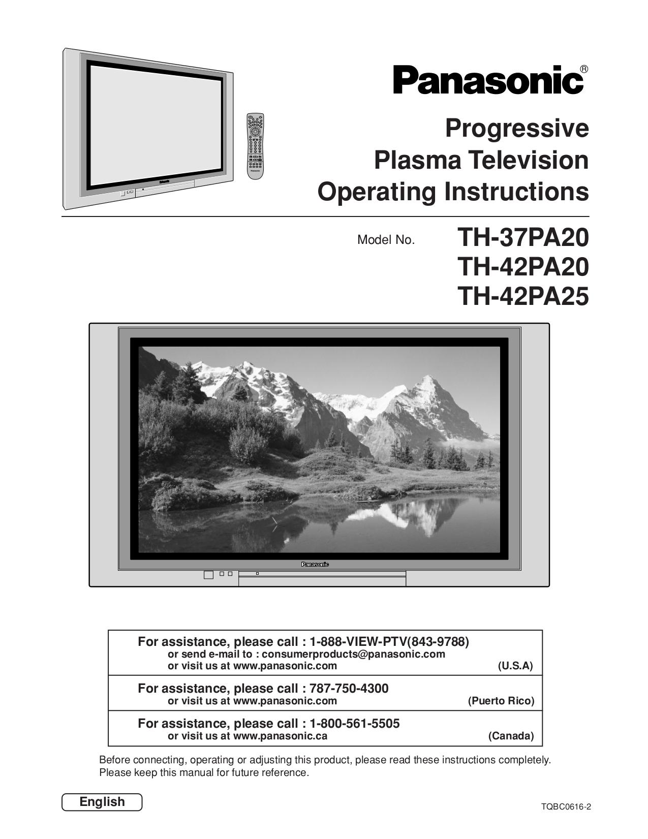 download free pdf for panasonic viera th 42pa20 tv manual manual da tv panasonic viera tc-l32c20b manual de tv panasonic viera 32 en español