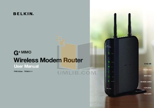 pdf for Belkin Router F5D4050 manual