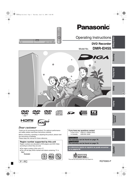 panasonic dmr-e55 manual pdf