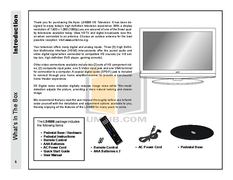 pdf manual for apex tv ld4088 rh umlib com Apex Replacement Parts Apex TV Remote