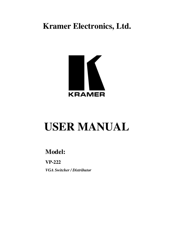 pdf for Kramer Other VP-12N Distribution Amplifiers manual