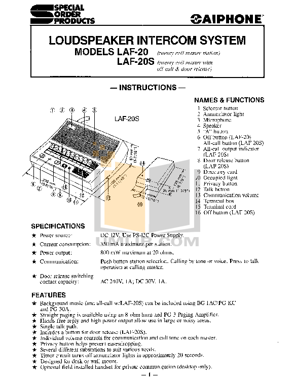 pdf for Aiphone Other LA-20AS Intercoms manual
