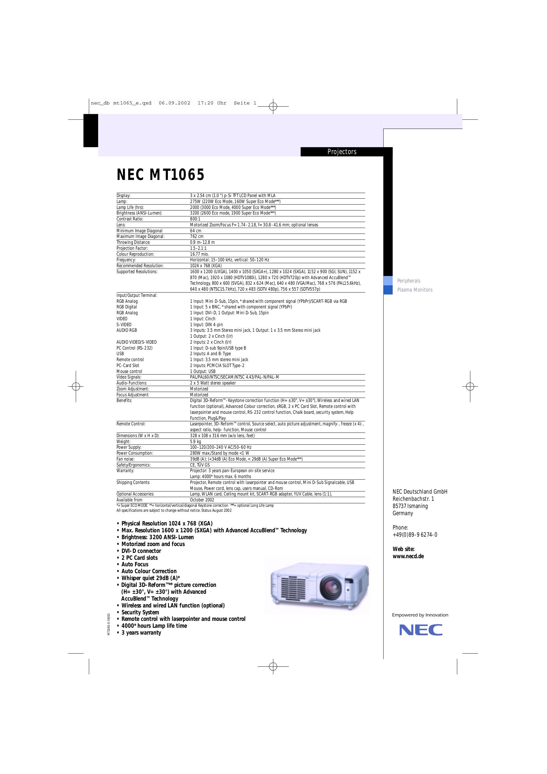 download free pdf for nec mt1065 projector manual rh umlib com Form 1065 K-1 1065 Schedule L