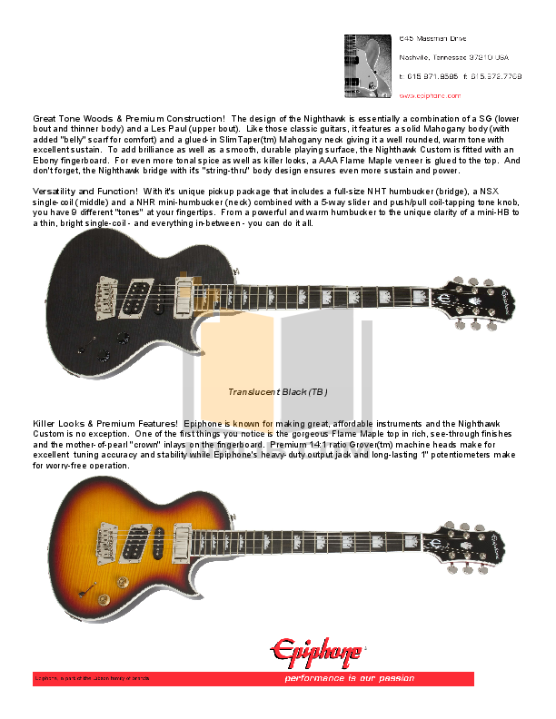 pdf manual for epiphone guitar nighthawk custom reissue. Black Bedroom Furniture Sets. Home Design Ideas