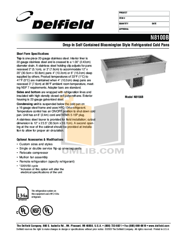 pdf for Delfield Other N8118B Cold Pans manual