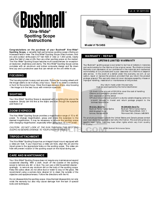 pdf for Bushnell Other Xtra-Wide 78-5456 Scopes manual