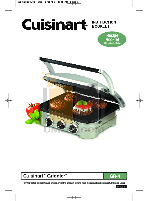 download free pdf for cuisinart gr 1 grill manual rh umlib com Cuisinart Griddler Compact Grill Griddle by Cuisinart