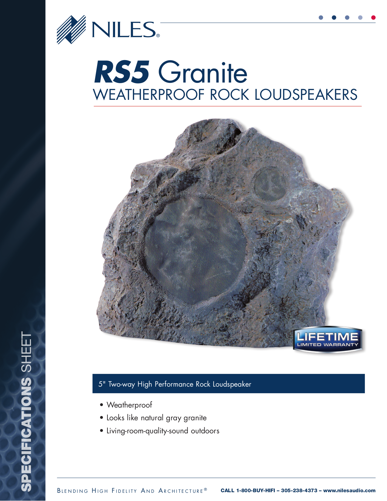 pdf for Niles Speaker RS5 Granite manual