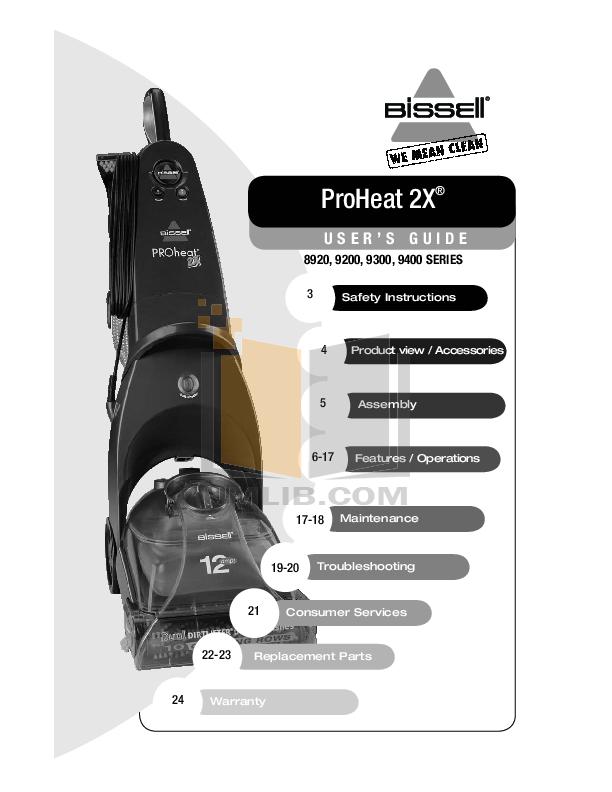 pdf for Bissell Vacuum 9200 manual