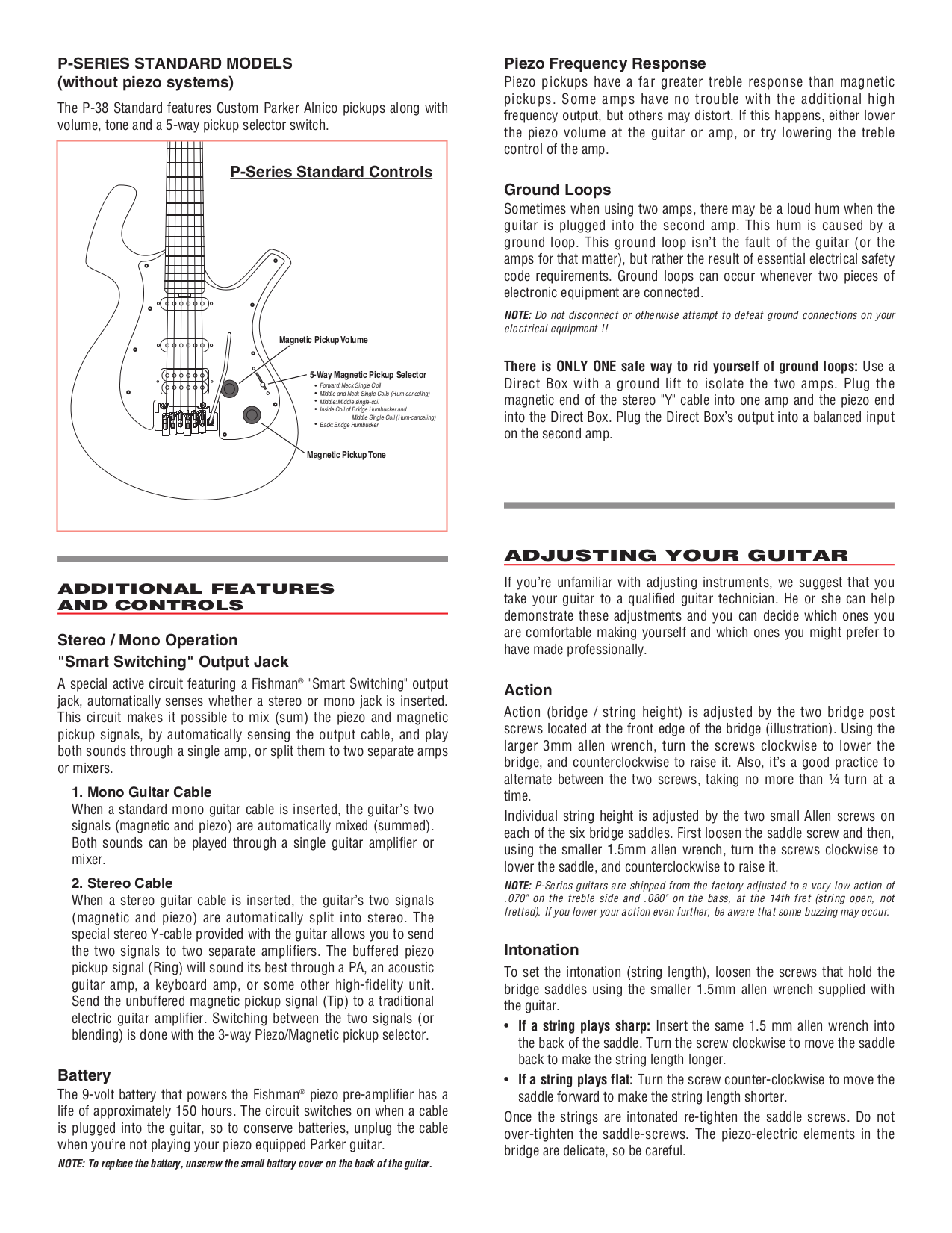 Pdf Manual For Parker Guitar P 36 Wiring Diagram Page Preview