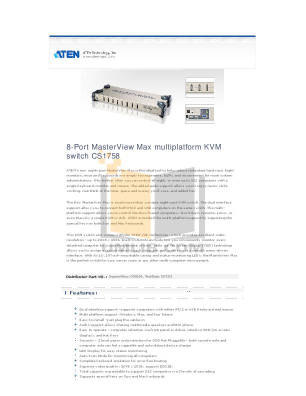 aten masterview kvm switch manual
