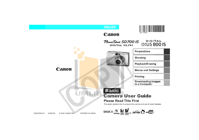 pdf for Canon Digital Camera Powershot SD700 IS manual