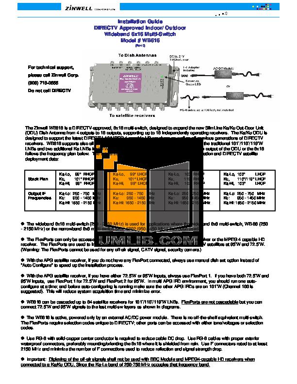 pdf for DirecTV Other Multi-Satellite Satellite Dish Antenna manual
