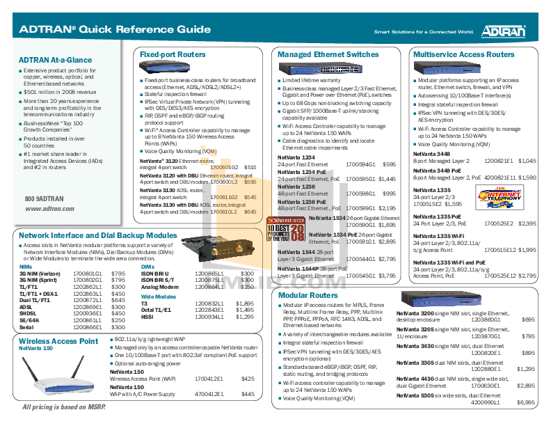 pdf for ADTRAN Switch NetVanta 1534 manual