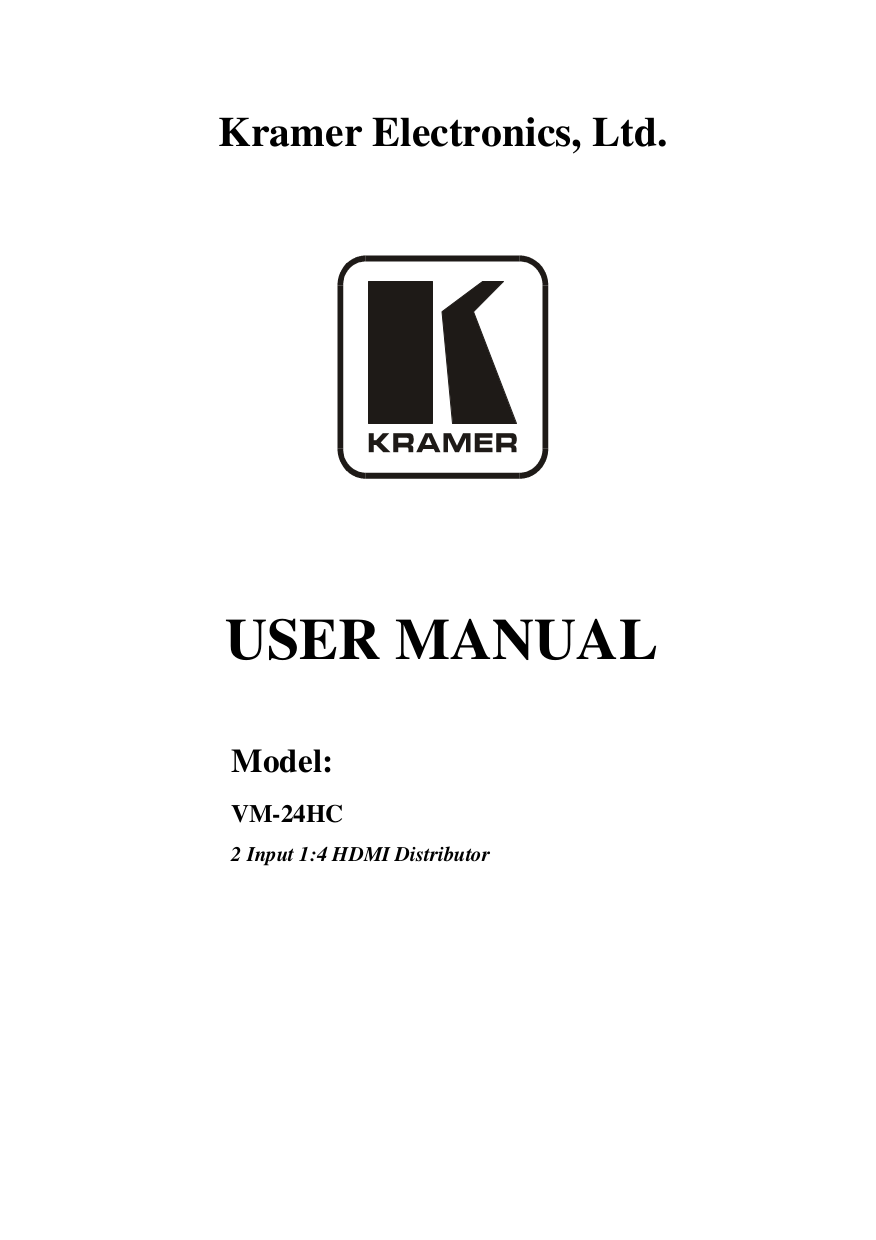 pdf for Kramer Other VM-80V Distribution Amplifiers manual