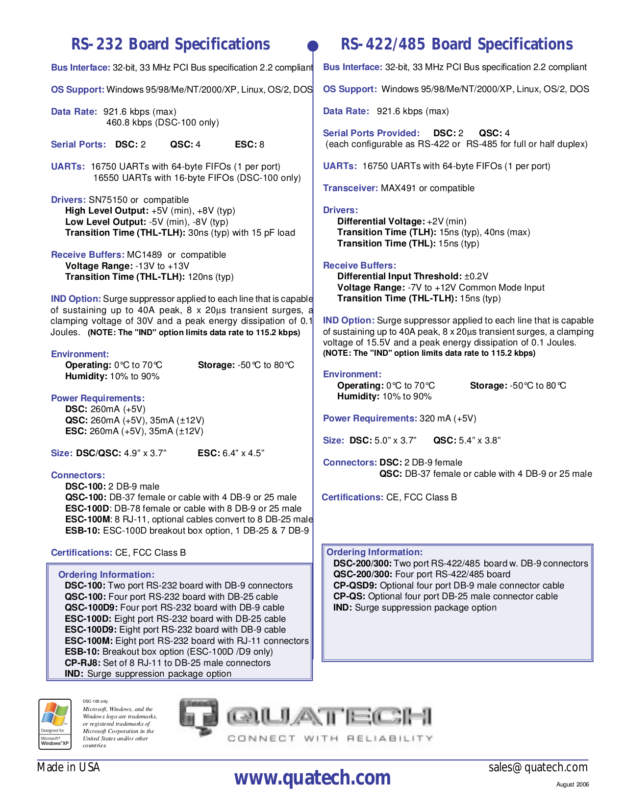 Quatech Other QSC-200 PCI Serial Boards pdf page preview
