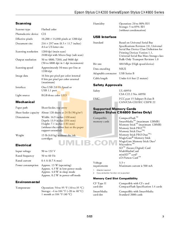 Epson Printer Stylus CX4200 pdf page preview