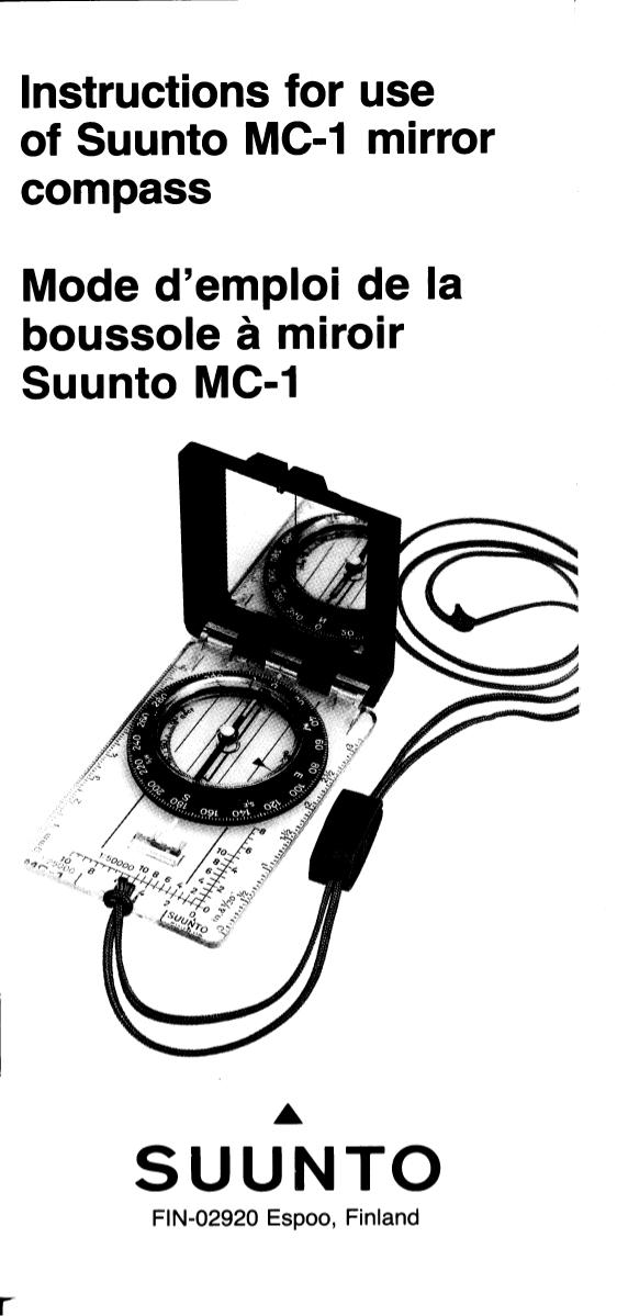 Instructions for use of suunto mc-1 mirror compass.