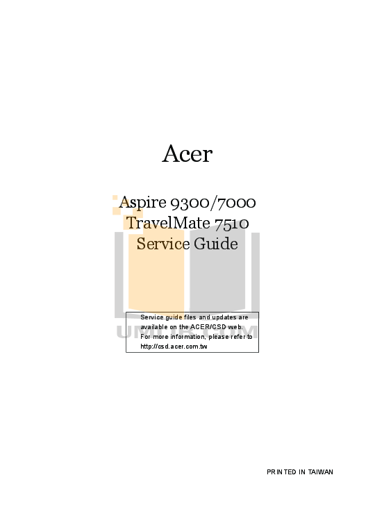 Acer aspire 9300 service manual.