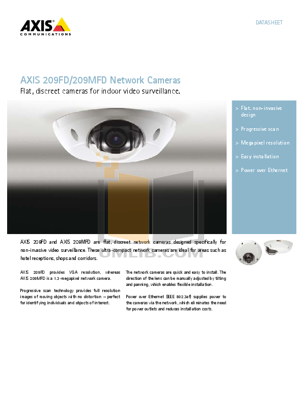 pdf for Axis Security Camera 209FD manual