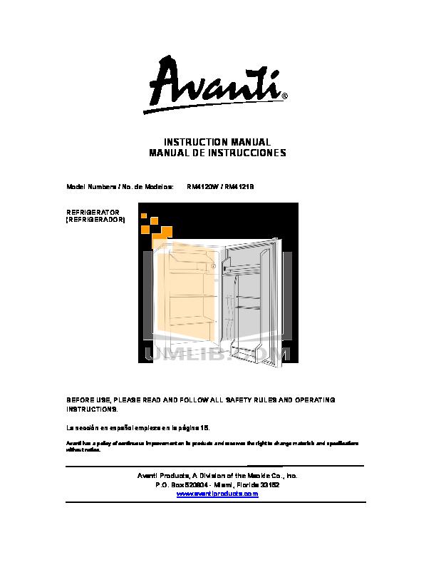 pdf for Avanti Refrigerator RM4120W manual