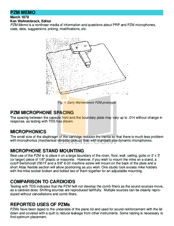 Crown Other PZM-6F Microphones pdf page preview