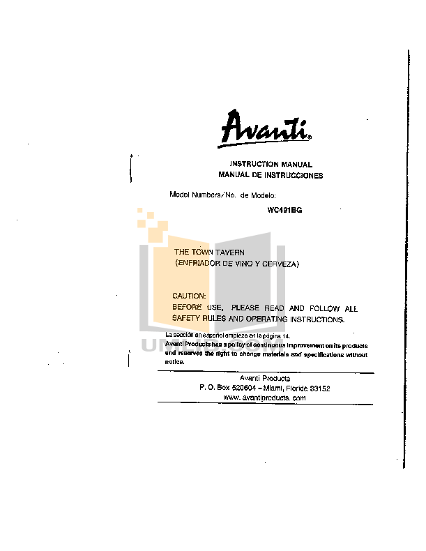 pdf for Avanti Refrigerator WC491BG manual