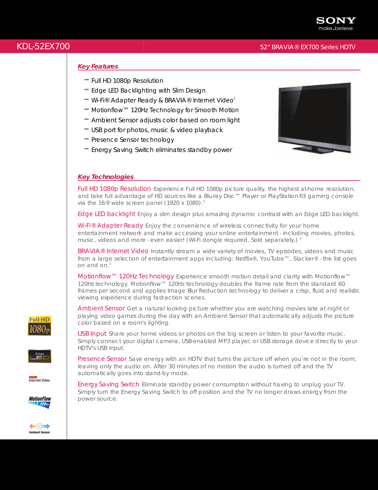 download free pdf for sony bravia kdl 52ex700 tv manual rh umlib com Sony KDL 70R550a Sony KDL 42Ex440
