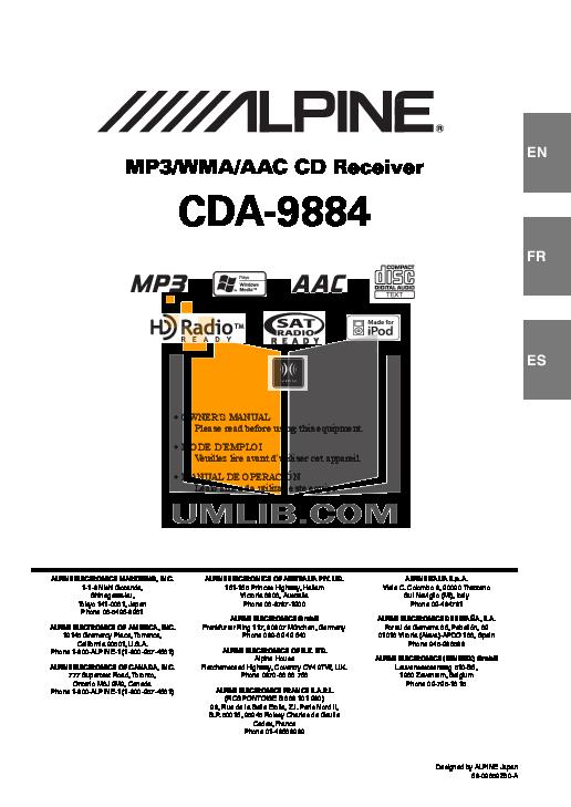 Download free pdf for Alpine CDA-9884 Car Receiver manual