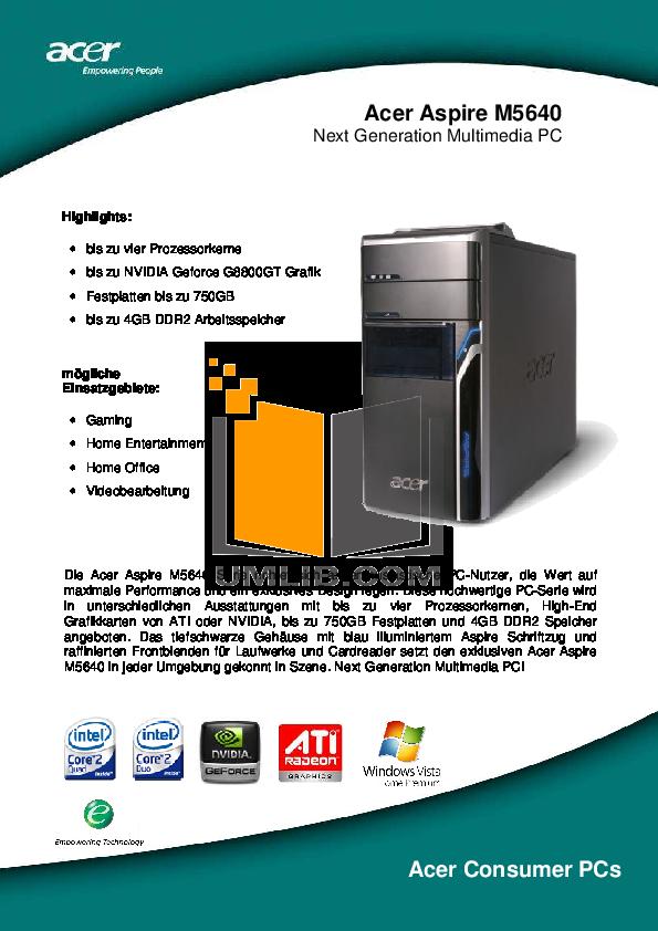 pdf for Acer Desktop Aspire M5640 manual