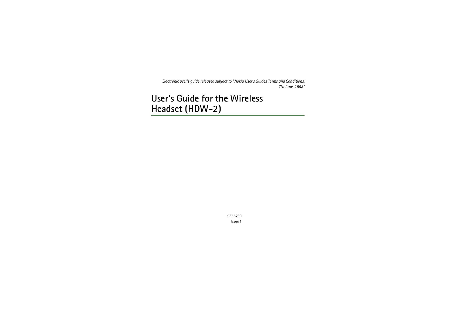 pdf for Nokia Headset HDW-2 manual
