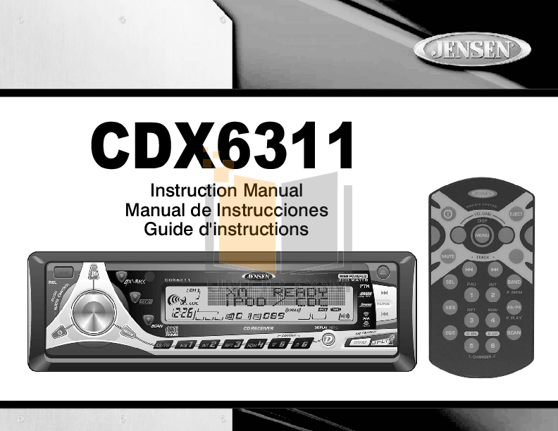 pdf for Audiovox Car Receiver CDX6311 manual