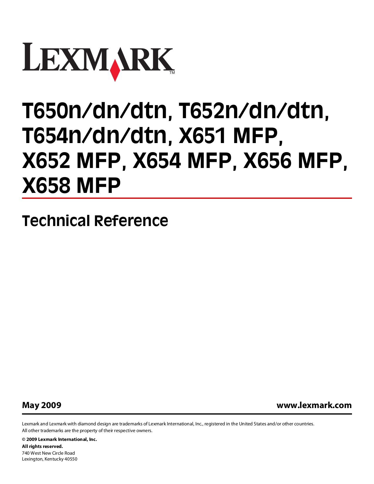 pdf for Lexmark Printer T654dtn manual