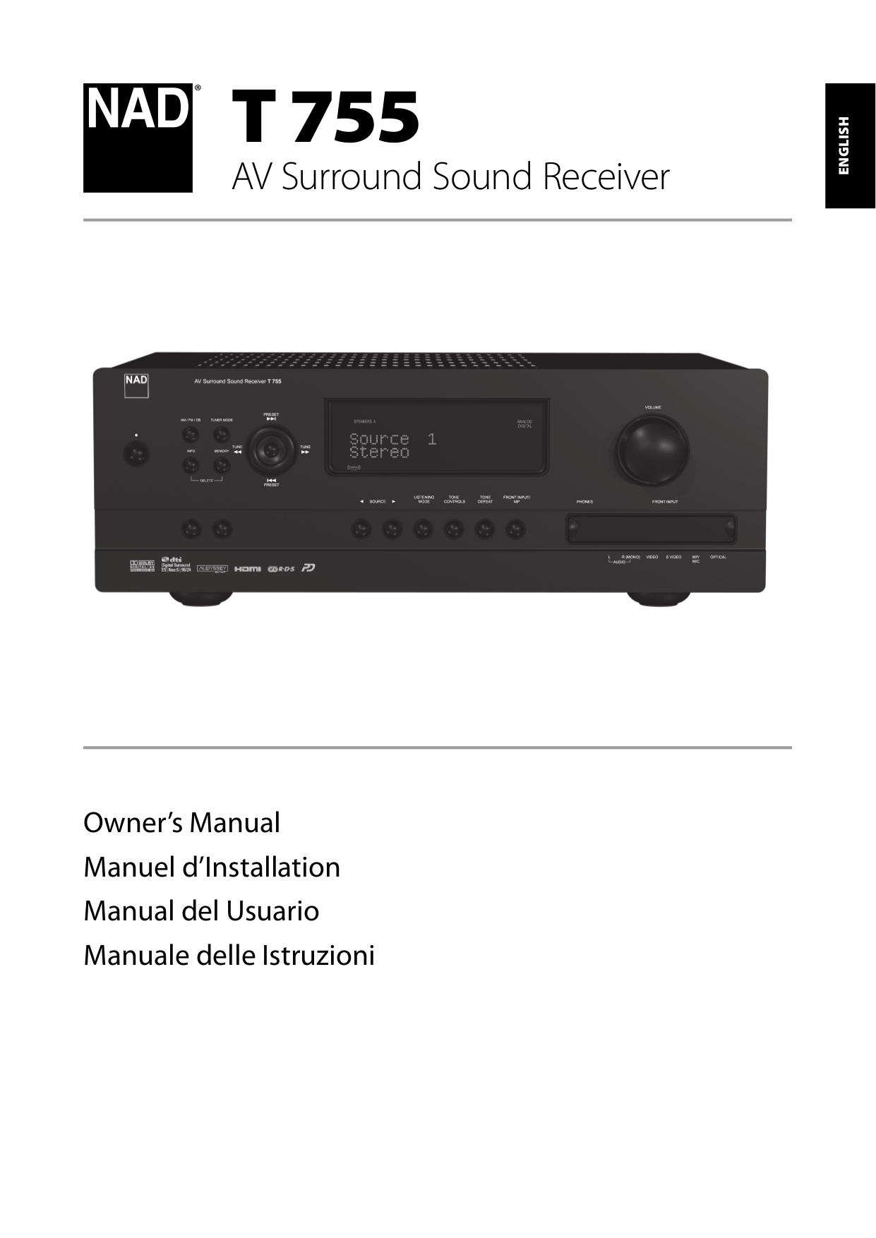 pdf for NAD Receiver T755 manual