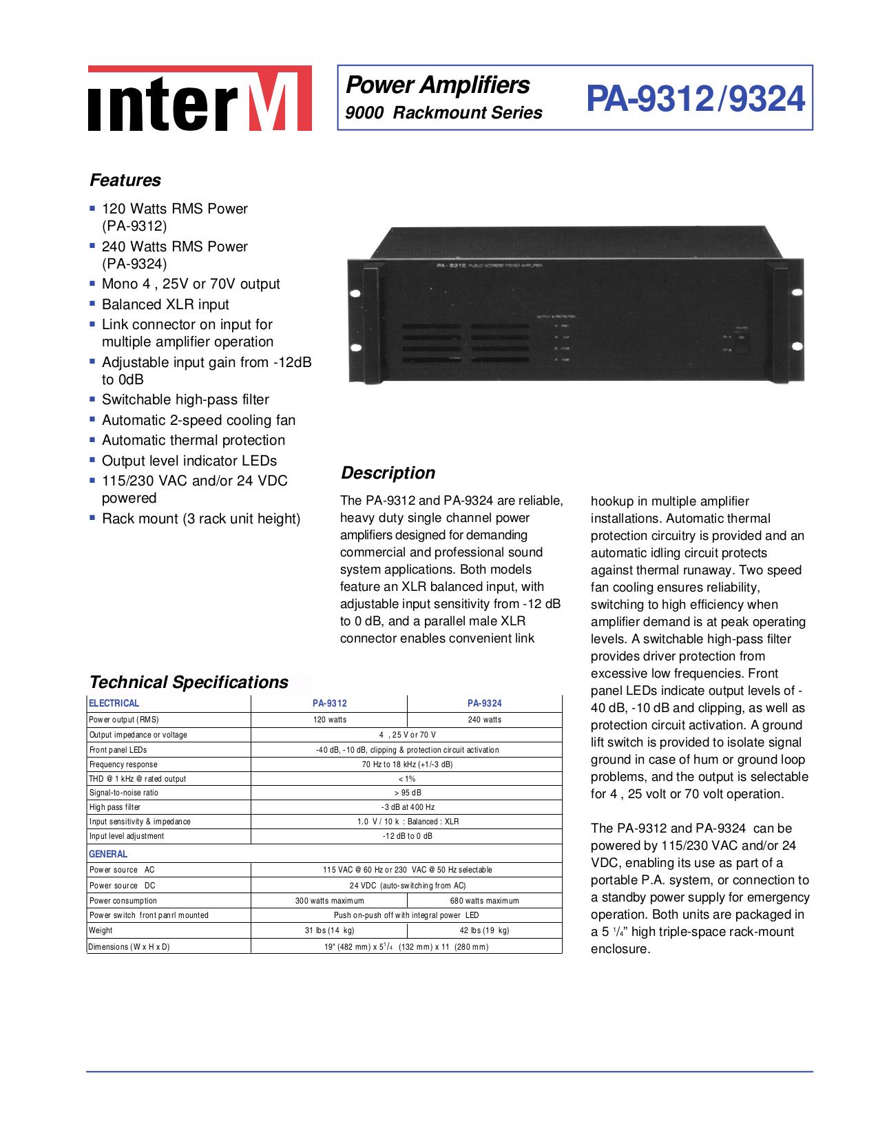 pdf for Inter-m Amp PA-9312 manual