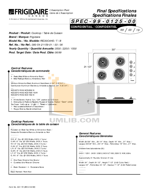 pdf for Frigidaire Range FEC30C4HS manual