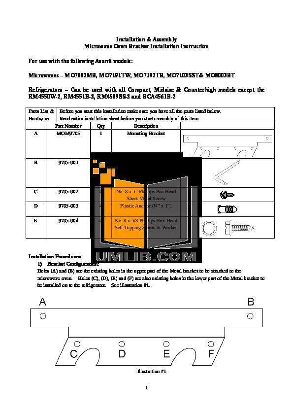 pdf for Avanti Refrigerator RM4550W manual