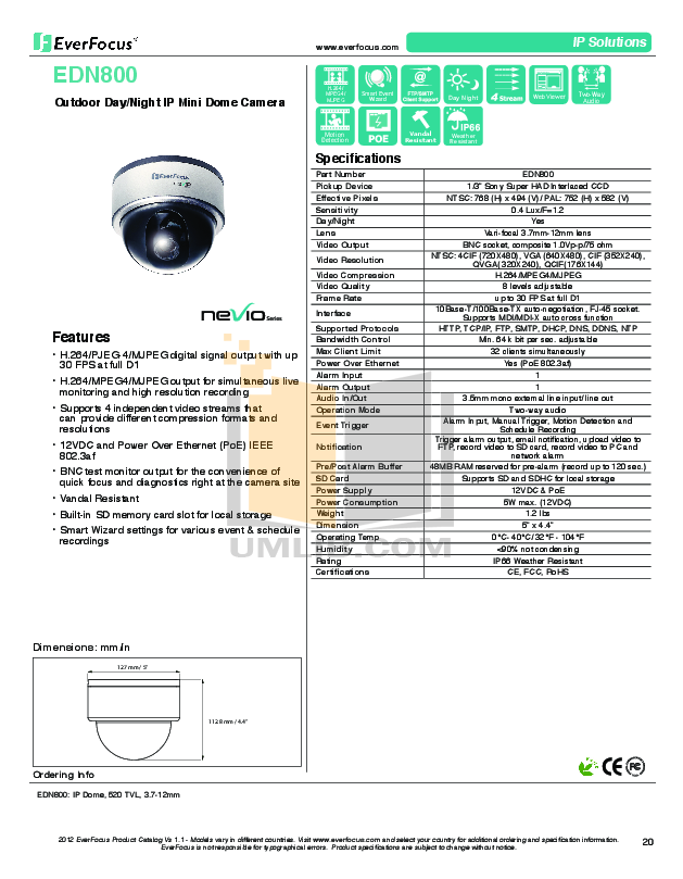 pdf for EverFocus Security Camera EDN800 manual