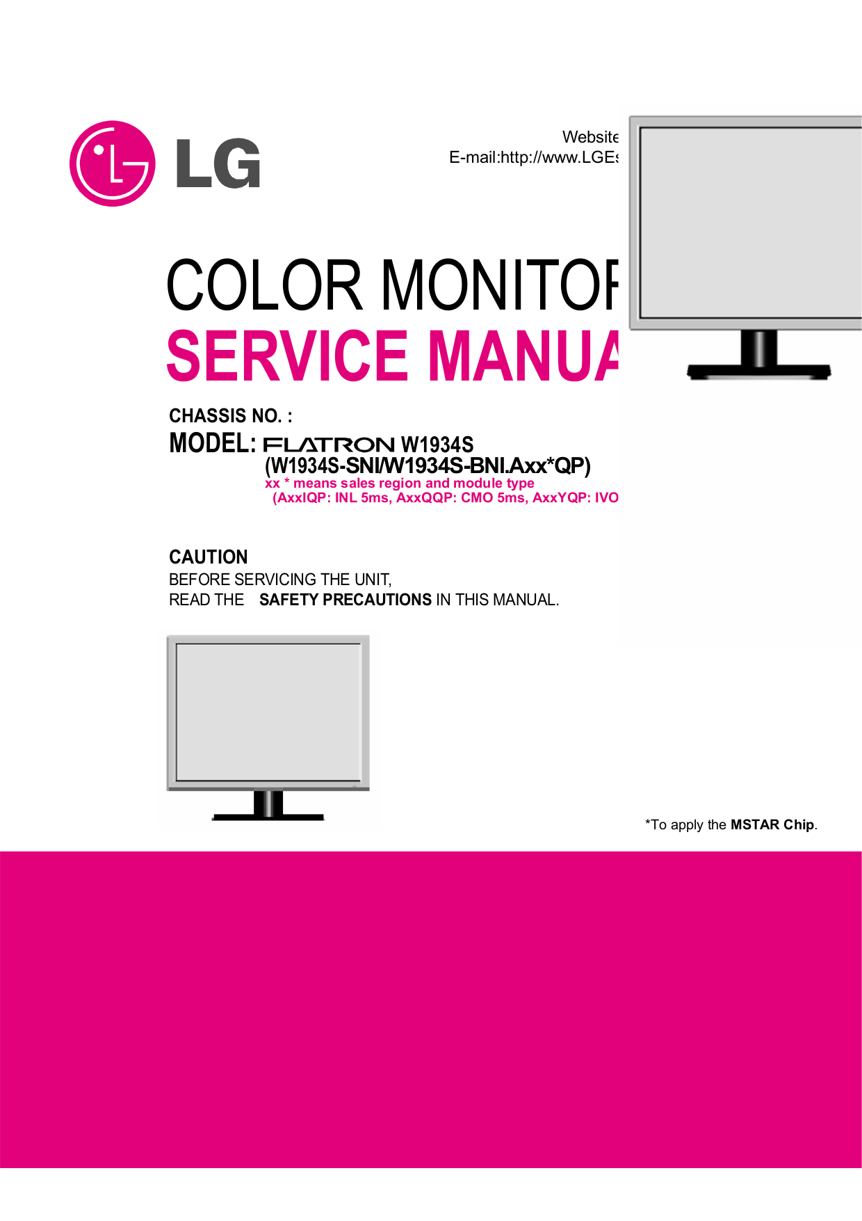 pdf for LG Monitor W1934S manual