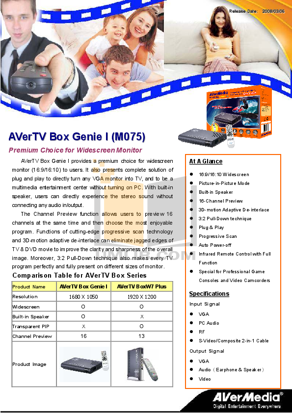 pdf for Avermedia Other AVerTV BoxW7 TV Tuner Cards manual
