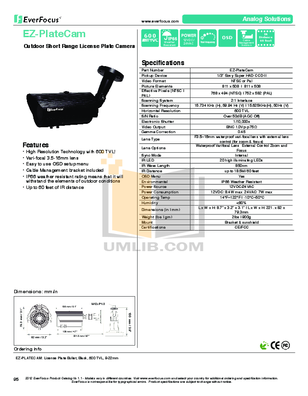 pdf for EverFocus Security Camera EZ-PLATE-CAM manual