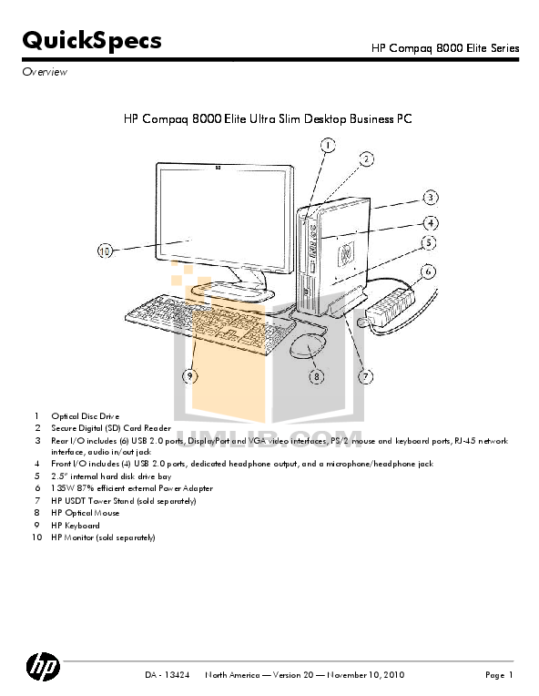 Download free pdf for HP Compaq Elite 8100 CMT Desktop manual
