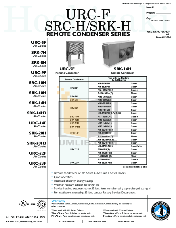 pdf for Hoshizaki Other URC-12F Condensing Unit manual