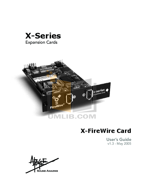 pdf for Apogee Other X-FireWire 400 FireWire Card manual