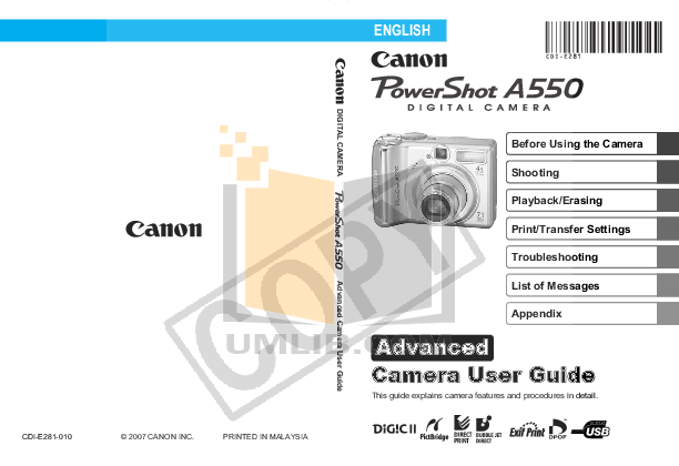 pdf for Canon Digital Camera Powershot A550 manual