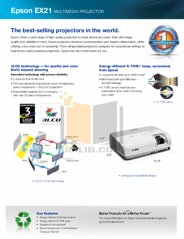 Epson Projector EX21 pdf page preview