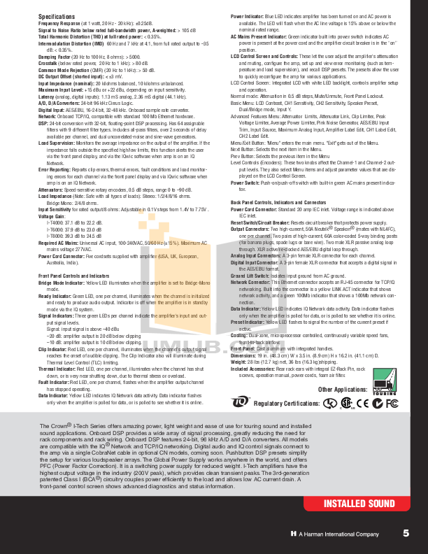 Crown Other ScreenArray PIP-4622 Input Processors pdf page preview