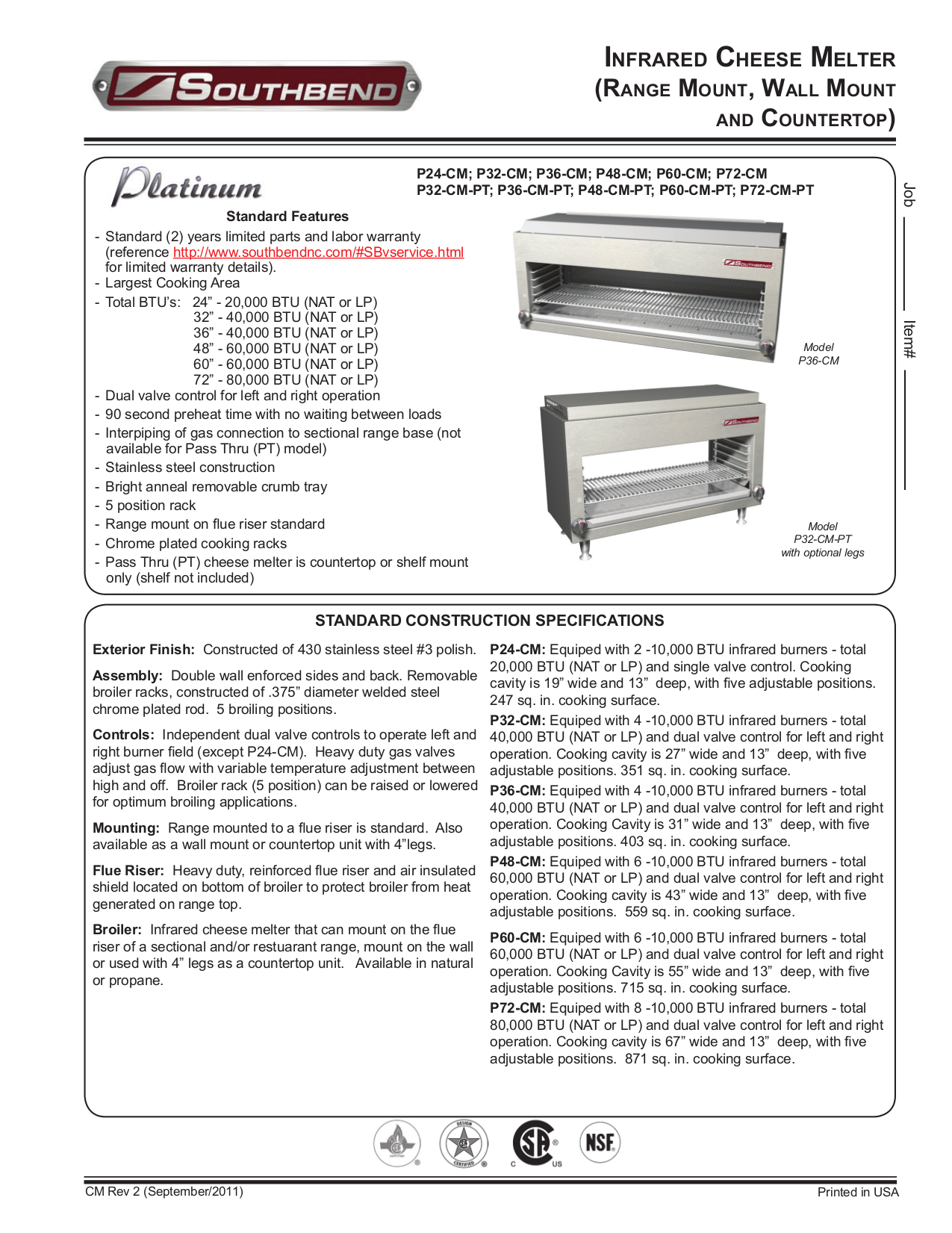 pdf for Southbend Other CM-31-60 Cheese Melters manual